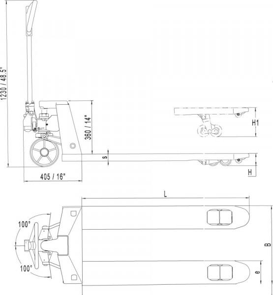 Hubwagen 2500kg VG/PUR rot, montiert