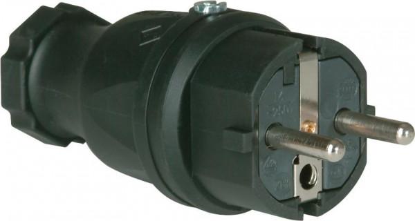 Schutzkontaktstecker, 2p+IP44 Vollgummi 16A/230V