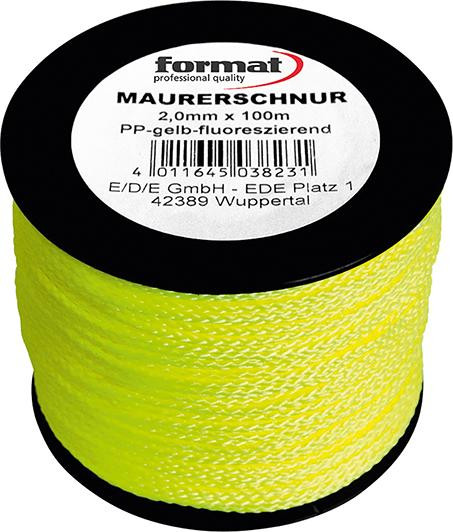 Maurerschnur - PP, 100m, grün fluoresz. 2mm FORMAT