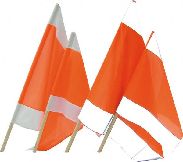 Warnflagge 50 x 50 cm mit Holzstiel 80 cm
