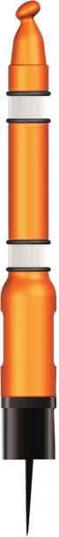Pfosten mit Erdspieß orange mit Reflektorman.